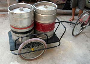 kegs on a cart